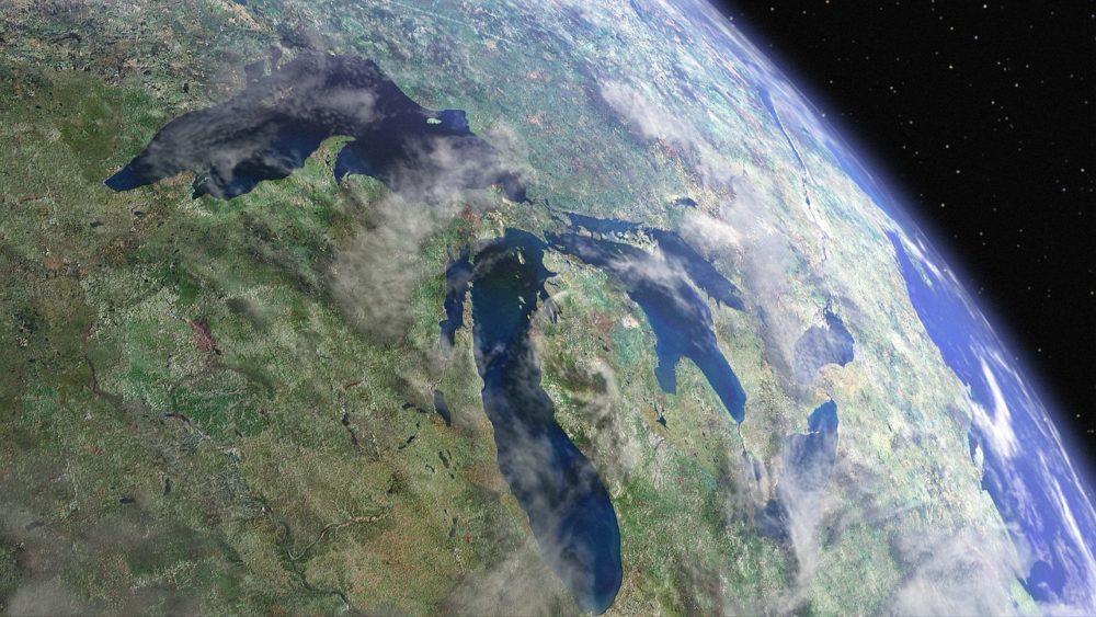 五大湖の衛星写真